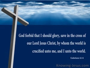 Galatians 6:14 Boast Only In The Cross Of Christ (blue)