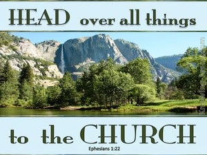 Ephesians 1:22 Head Over All Things To The Church blue