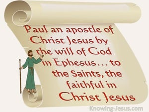 Ephesians 1:1 Paul An Apostle Of Christ By The Will Of God To Saints In Ephesus (beige)