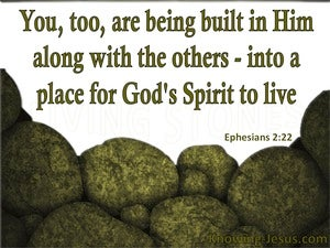 Ephesians 2:22 Built Into A Dwelling Place For God (green)