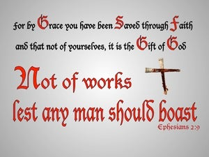 Ephesians 2:9 Not of Works Lest Any Man Should Boast (red)