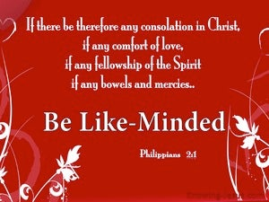 Philippians 2:1 Be Likeminded red