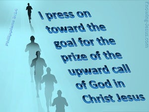 Philippians 3:14 I Press Towards The Goal (blue)