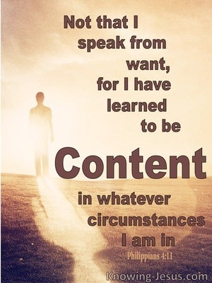 Philippians 4:11 Learn To Be Content brown