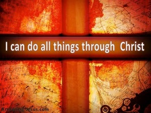 Philippians 4:13 All Things Through Christ brown