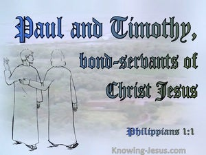 Philippians 1:1 Paul And Timothy Bond:Servants (blue)
