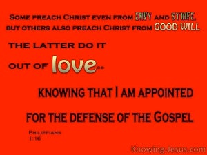 Philippians 1:16 Apointed For The Defense Of The Gospel (red)