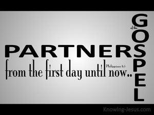 Philippians 1:5 Partners Of The Gospel (gray)