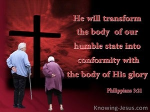 Philippians 3:21 He  Will Transform Our Lowely Body (red)