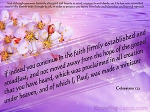 Colossians 1:23 Faith, Firmly Established And Steadfast purple