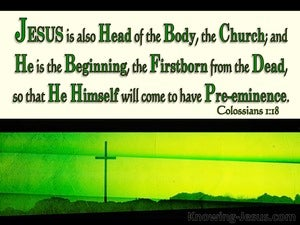 Colossians 1:18 Jesus Is The Head Of The Body (green)