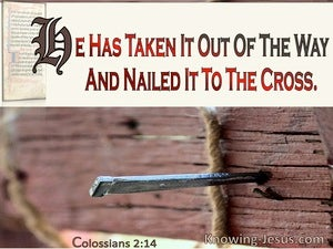 Colossians 2:14 He Has Taken It Out Of The Way And Nailed It To The Cross (cream)