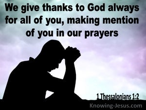 1 Thessalonians 1:2 We Give Thanks To God Always (purple)