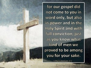 1 Thessalonians 1:5 Our Gospel Did Not Come To You In Word Only (navy)