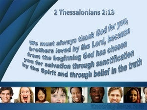 2 Thessalonians 2:13 Chosen From The Beginning blue