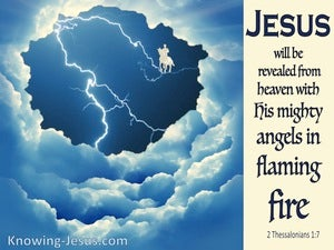 2 Thessalonians 1:7 Jesus Will Be Revealed From Heaved (blue)