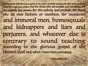 1 Timothy 1:10 Whatever Is Contrary To Sound Doctrine (beige)