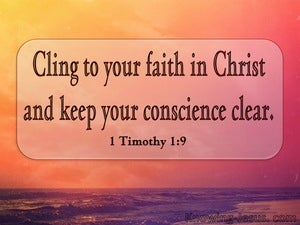 1 Timothy 1:19 Cling To Your Faith (orange)