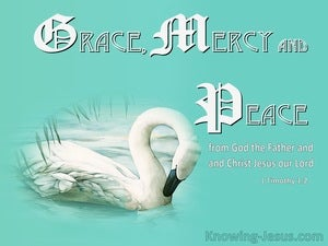 1 Timothy 1:2 Grace Mercy and Peace From God The Father And Christ Jesus (aqua)