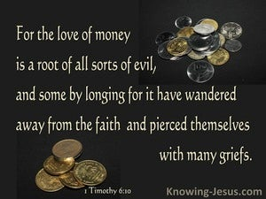 1 Timothy 6:10 The Love Of Money Is A Root Of Evil (brown)
