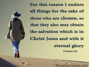 2 Timothy 2:10  Salvation Is In Christ Jesus (beige)