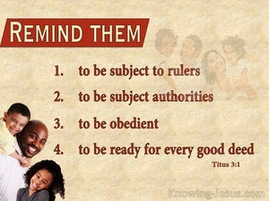 Titus 3:1 Be Obedient And Subject To Authority beige