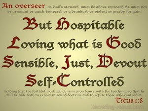 Titus 1:8 An Overseer Must Be Hospitable (gold)
