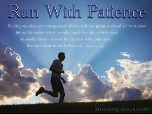 Hebrews 12:1 Run With Patience The Race blue