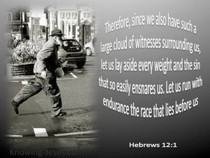 Hebrews 12:1 Run With Patience gray