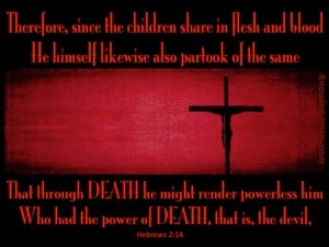 Hebrews 2:14 Through Death He Defeated Death red