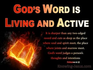 Hebrews 4:12 The Word Is Living And Active red