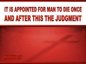 Hebrews 9:27 Man Is Appointed to Die Once red