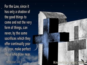 Hebrews 10:1 The Law Is A Shadow Of The Very Form Of Things To Come (blue)