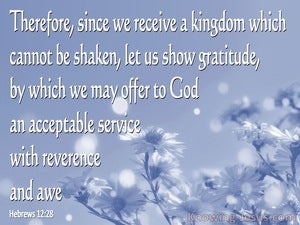 Hebrews 12:28 Let Us Offer Our Acceptable Service to God (blue)