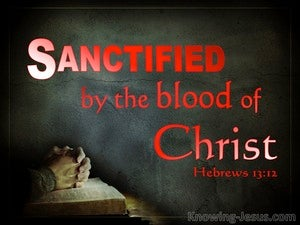 Hebrews 13:12 Sanctified By The Blood  Of Christ (red)
