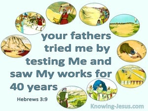 Hebrews 3:9 Your Fathers Tested Me For 40 Years (aqua)