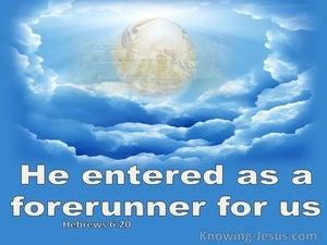 Hebrews 6:20 He Entered As Forefunner For Us (blue)