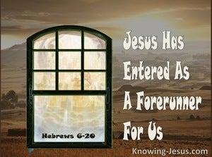 Hebrews 6:20 Jesus Has Entered As A Forerunner For Us (cream)