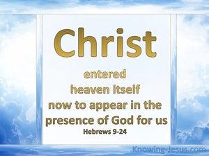 Hebrews 9:24 Christ Entered Heaven (blue)