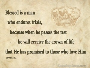 James 1:12 Blessed Is The Man The Endures Trials (beige)