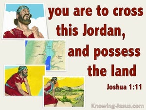 Joshua 1:11 Cross Jordan And Possess The Land (red)