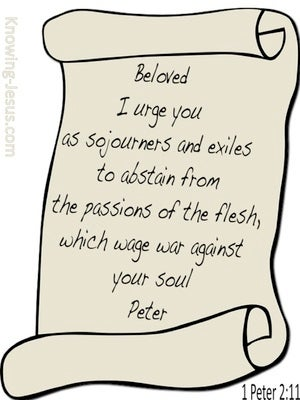 1 Peter 2:11 Abstain From Passions Of The Flesh beige