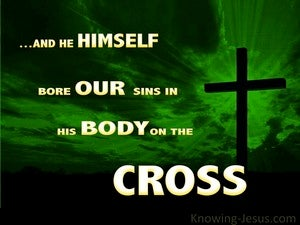 1 Peter 2:24 He Bore Our Sins green