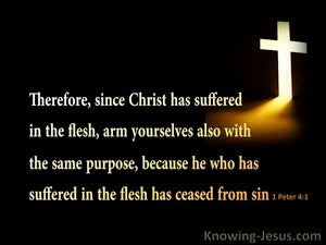 1 Peter 4:1 Christ Suffered In the flesh (black)