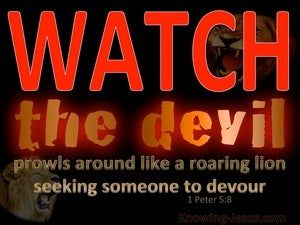 1 Peter 5:8 Be Sober The Devil Prowls Around red