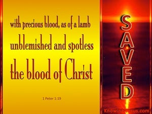 1 Peter 1:19 Saved With the Precious Blood of Christ (gold)