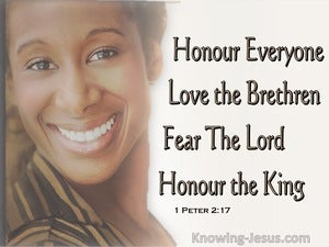 1 Peter 2:17  Honour All, Love The Brotherhood, Fear God, Honour The King (beige)