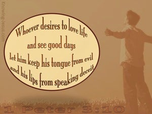 1 Peter 3:10 Keep From Speaking Evil (beige)