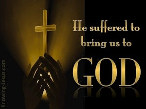 1 Peter 3:18 He Suffered To Bring Us To God (gold)
