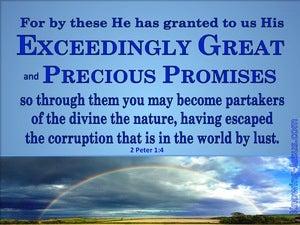 2 Peter 1:4 Exceeding Great And Precious Promises blue